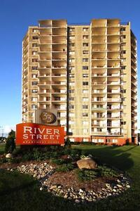 River/City Views. 2 bedroom 2 bathrooms. Avail Now