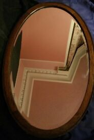 Vintage Oak Oval Mirror