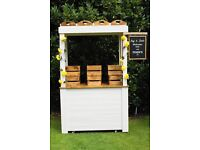 Wedding items for hire including unique wooden stall, juice bar, little people's cart, ladder, signs