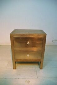 beautiful antique bronze hand stenciled aluminum sheet 2 drawer bedside table unit