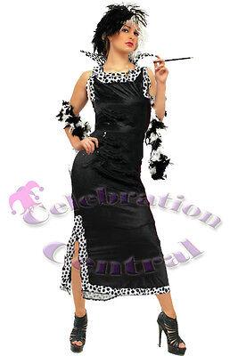 CRUELLA DE VILLE STYLE FANCY DRESS COSTUME FULL LENGTH SIZE UK 20-22