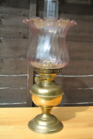 Beautiful old large brass oil lamp