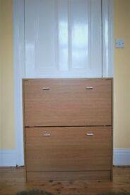 SOLD*** Oak Effect Shoe Storage Cabinet: slim and spacious