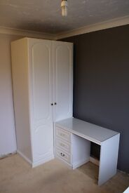 White bedroom furniture, wardrobes, dressing table