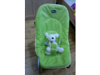 CHICCO POCKET RELAX BABY BOUNCER GREEN MULTI POSITION RECLINE FROM BIRTH