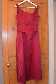 Two size 12 Alice James 'wine coloured' satin 2 part bridesmaid dresses.