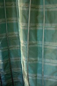 Fully Lined Green Checked Silk Curtains