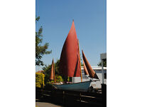 Drascombe Dabber Sailing Boat, traditional designed gunter rigged trailer sailer with outboard.