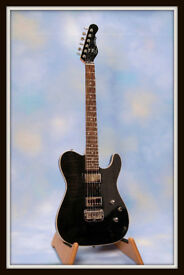 G&L ASAT CARVED TOP DELUXE TELE~TRANS BLACK.