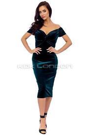 KDKClaret Luxury Velvet Twist Bust Detail Dress Color green size 10