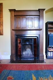 Original Arts and Crafts style 1920s wooden fire surround