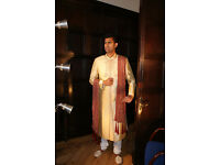 Indian Sherwani For Mens Gold & Maroon Size 36 to 50