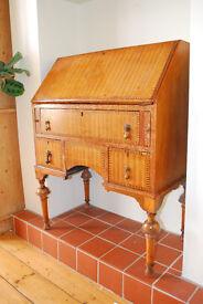 Unusual solid wood with pretty veneer & marquetry flip down bureau/writing desk