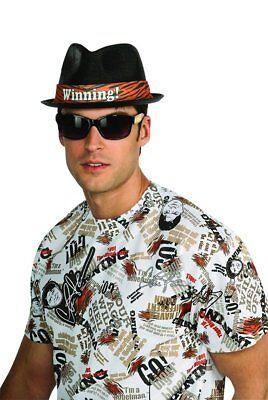 Mens Adult Funny Charlie Sheen Winning Deluxe Black Fedora Costume Hat (Halloween Costume Wins)