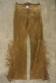 Brown Suede trousers with fringe detail by MORGAN