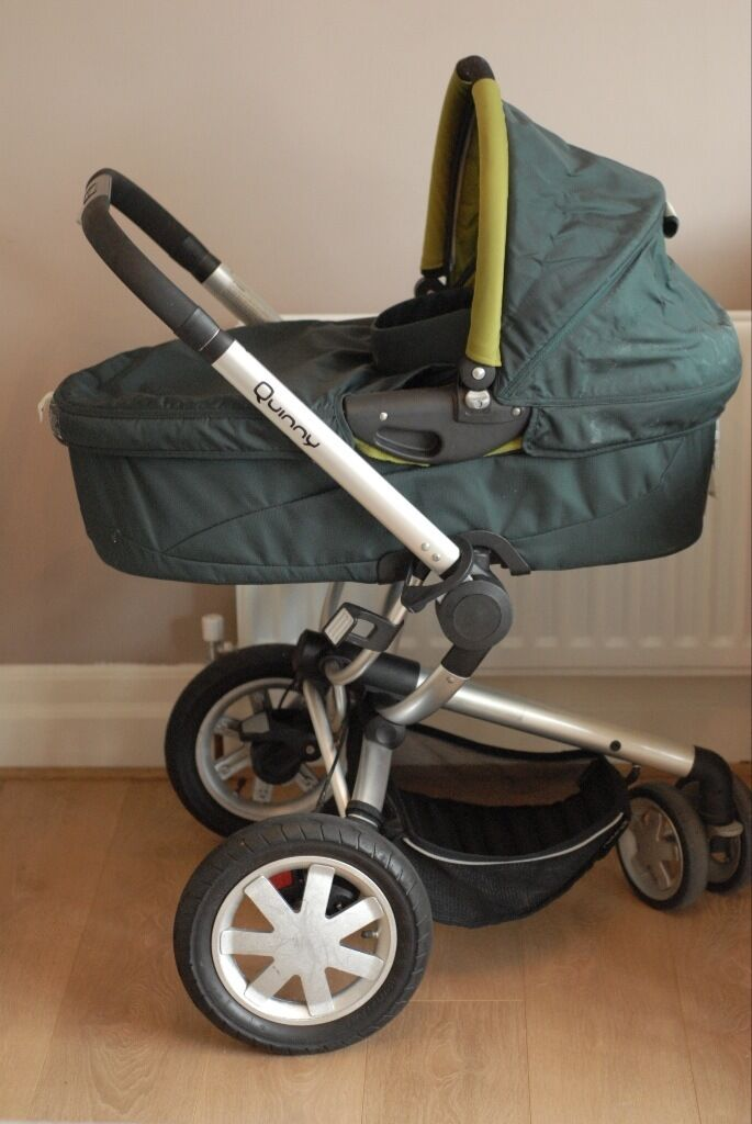 Olive Green Quinny Buzz 3 pushchair, carrycot and car seat adaptors