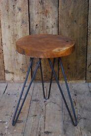 STOOL industrial rustic solid teak wood & steel vintage salvage hunters reclaimed Brighton gplanera