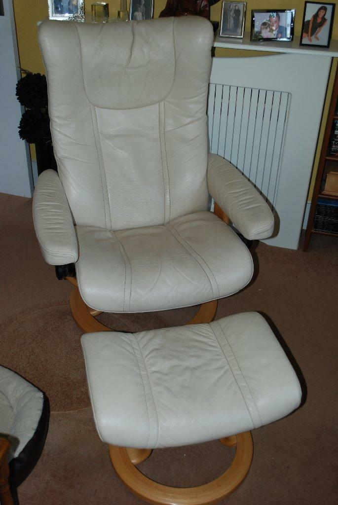 Cream Stressless Recliner And Foot Stool In Kirton
