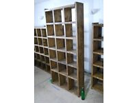 Bookcase industrial rustic solid wood salvage hunters vintage shelves pigeon holes 40cm gplanera