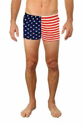 Men Lycra Bike Shorts American Flag Running Shorts Swimwear Swim 4602 (American Flag Running Shorts)