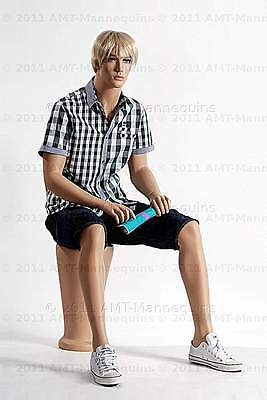Male Full Body Display Mannequin Sitting Manequin Manikin - Granta Pedestal