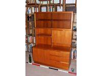 Mcintosh wall unit Danish modern teak era MINT vintage Brighton storage shelves drawers gplanera