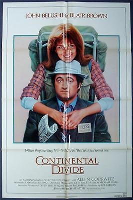 1981 Folded One Sheet (CONTINENTAL DIVIDE Orig Movie Poster 1981 FOLDED One Sheet 1SH John Belushi )