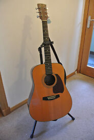 IBANEZ PF5NT ACOUSTIC GUITAR, with heavy duty stand, leather strap and gig bag