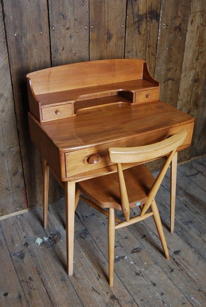 Ercol Desk Natural 1950s Elm Mid Century Modern Vintage