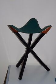GREEN LEATHER STOOL from Mexico