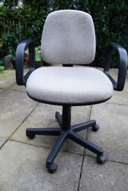 Swivel office desk chair, grey fabric, clean and smoke free home