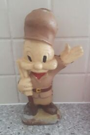Vintage Elmer Fudd Cast Metal Money Box Retro Rare Looney Tunes