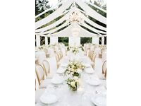 Glass sweet jar hire – Centrepiece hire – Backdrops – Chair cover hire - Flowerwall hire