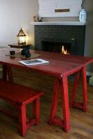 Farmhouse Dining Table, bench & more! By LIKEN woodworks