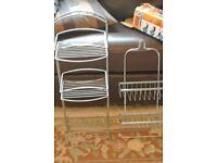2 quality storage baskets 1 chrome shower basket & 1 free standing wire basket