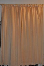 Two pairs of heavy, lined Mostyns curtains. Gold/creamy beige colour 90inches (230cm) drop