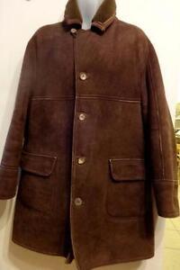 Mens ANTARTEX 100% Sheepskin Shearling Coat 46 L XL Dark Brown Scotland Vintage / Thick Warm / Made in UK / OAKVILLE