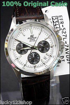 186cab5e38be EFR-527L-7A White Casio Men s Watches Edifice Chronograph 100M Date Leather  Band