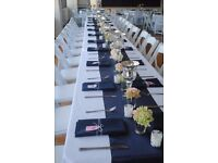 30 x navy-blue satin table runners