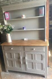 Gorgeous Priory oak Welsh dresser, upcycled grey