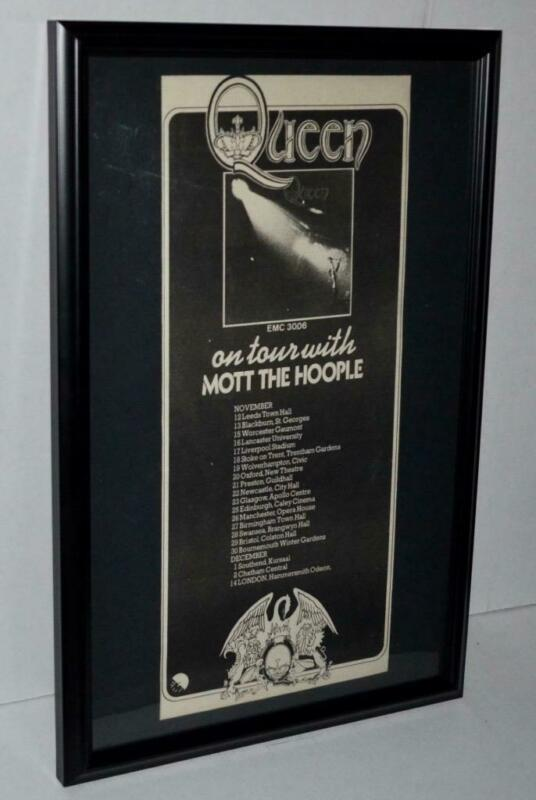 QUEEN RARE 1973 ON TOUR W/ MOTT THE HOOPLE FRAMED PROMO CONCERTS POSTER / AD