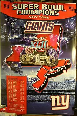 Super Bowl Xlii Champions New York Giants 36 X 24  Poster New Schedule Scores