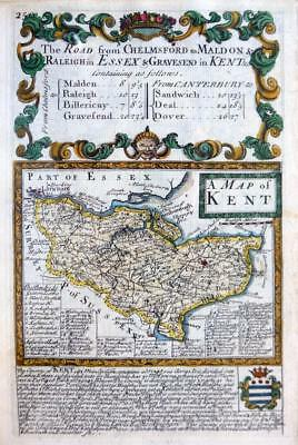 KENT  CANTERBURY ROCHESTER DOVER  BY EMANUEL BOWEN GENUINE ANTIQUE MAP c1720