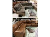 Brown suede corner sofa recliner