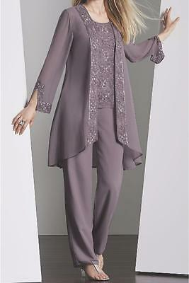 Mother Bride Groom Women's Wedding beaded dress 3PC duster pant set suit plus 2X