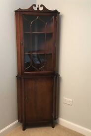Corner Display Cabinet with lower storage compartment