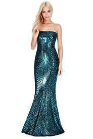 Peacock Sequin fitted Prom Dress in size 8