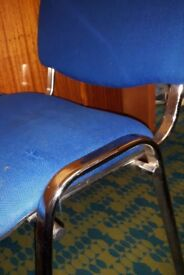 Blue Fabric Office Reception Waiting Room Chairs x 3 Need Recovering
