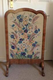 Walnut tapestry fire screen circa 20th century