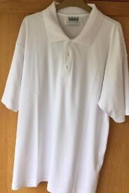 Mens White Polo Button Neck Cotton Top. Size XL